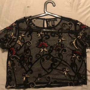 F21 sheer printed shirt